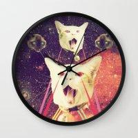 saga Wall Clocks featuring galactic Cats Saga 4 by Carolina Nino