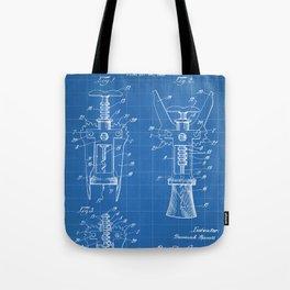 Cork Screw Patent - Wine Art - Blueprint Tote Bag