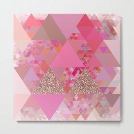 Triangles in glittering pink- glitter triangle pattern Metal Print