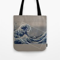 fibonacci Tote Bags featuring Hokusai Meets Fibonacci by Vi Sion