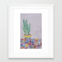 cactus Framed Art Prints featuring Cactus by Rabbits In The Sky