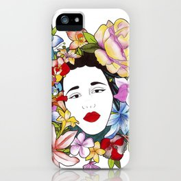 Woman in Flowers  iPhone Case