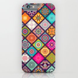 Colorful Bohemian Boho Chick Spanish Tile Tapestry Design iPhone Case