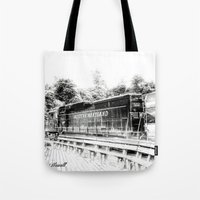 train Tote Bags featuring Train by Geni