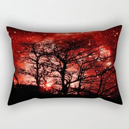 black trees red space Rectangular Pillow