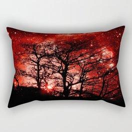 black trees red space Rectangular Pillow