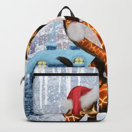 Christmas, giraffe in love with christmas hat Backpack