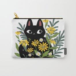Flower Black Cat Carry-All Pouch