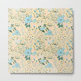 Star Sapphire Floral Celebration Aqua Metal Print