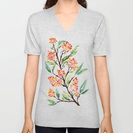 Watercolour Firethorn Branch with Berries Unisex V-Neck