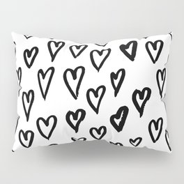Pattern with hand-drawn Hearts Pillow Sham