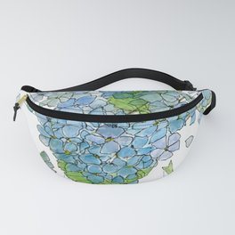 Blue Hydrangea Watercolor Fanny Pack
