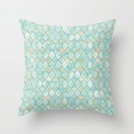 Luxury Aqua and Gold oriental pattern Throw Pillow