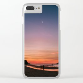 Tropical Moonlit Beach Sunset in the Philippines Clear iPhone Case