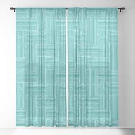 Woven Bamboo Texture Sea Green Sheer Curtain