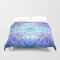frozen Duvet Covers featuring Frozen Stars Periwinkle Lavender Blue by 2sweet4words Designs