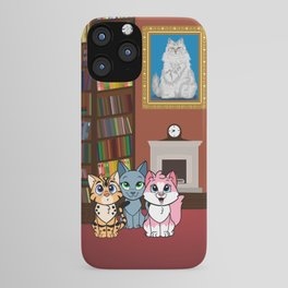 Kittens in library iPhone Case