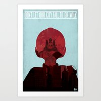 megaman Art Prints featuring Megaman Propaganda by andbloom
