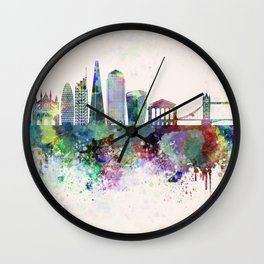 London V2 skyline in watercolor background Wall Clock