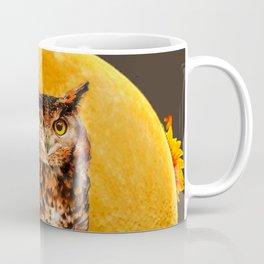 NIGHT OWL MOON SUNFLOWER ART Coffee Mug