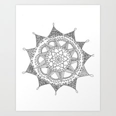 Black and White Circle Doodle Art Print