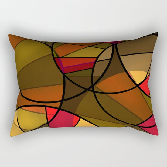 Red brown yellow black abstract pattern. Cycle . Rectangular Pillow