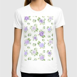 Hand painted lavender violet green watercolor floral T-shirt