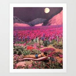 Purple moon bather Art Print