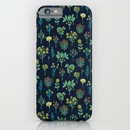 Navy Blue, Mint Green, Turquoise, Coral & Lime Floral Pattern iPhone Case