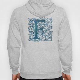 Letter F Antique Floral Letterpress Monogram Hoody