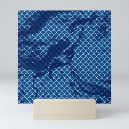 Snorkel blue small scallops with dark texture Mini Art Print