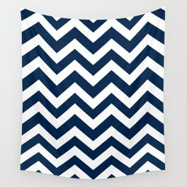 Oxford blue - blue color - Zigzag Chevron Pattern Wall Tapestry