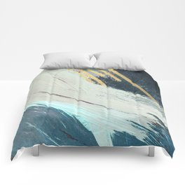 Karma: a bold abstract in blues and gold Comforters