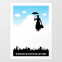 mary poppins Art Prints featuring mary poppins by notbook