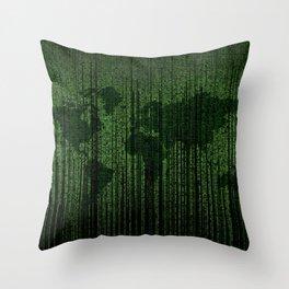 World Map Matrix Code Data Networking Espionage Web Green Throw Pillow