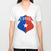 chile V-neck T-shirts featuring Chile by jekonu