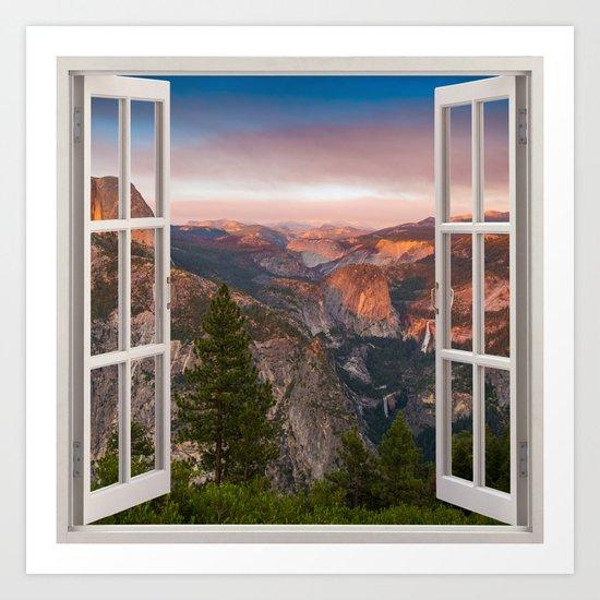 Hills through the window 2 Art Print