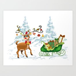 Rudolf and Sleigh Art Print