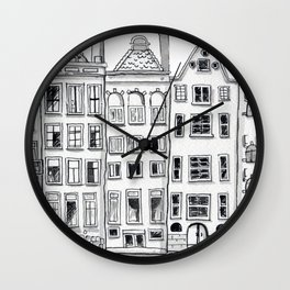 Amsterdam Canal Houses Sketch Wall Clock
