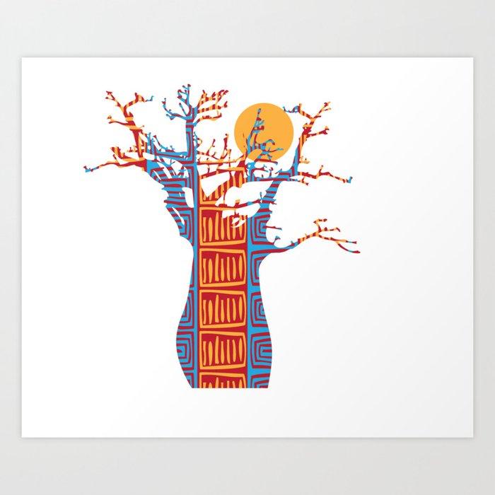 African Baobab tree of life at Sunset Art Print