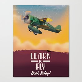 Learn To Fly, vintage flight travel poster Canvas Print