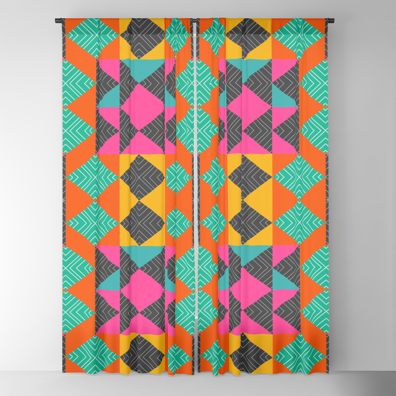 Bright Multicolored Shapes Blackout Curtain By Cocosabstractions