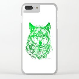 Green Wolf Clear iPhone Case