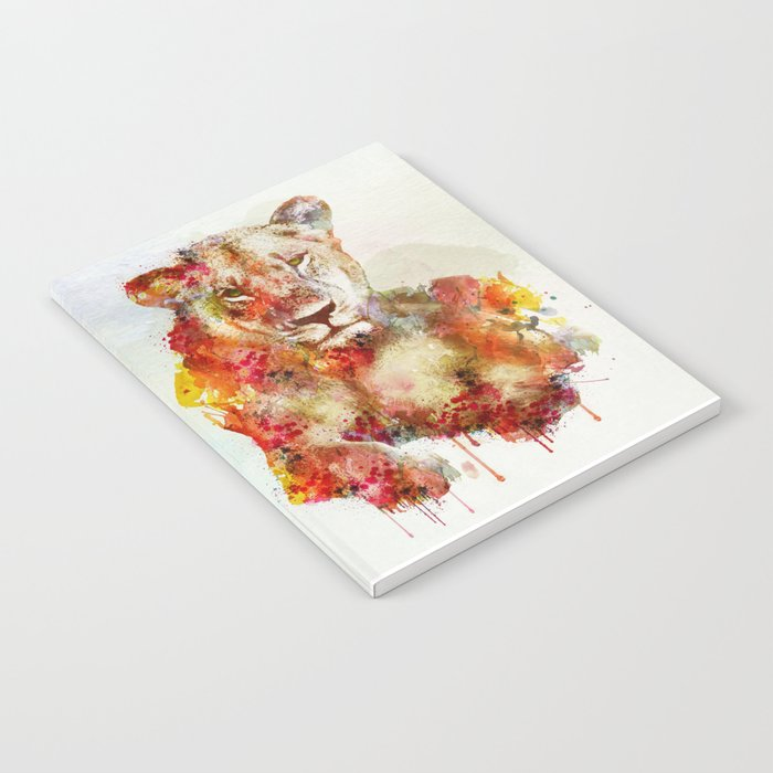 Resting Lioness Watercolor Painting Notebook
