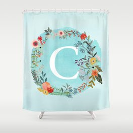 Personalized Monogram Initial Letter C Blue Watercolor Flower Wreath Artwork Shower Curtain