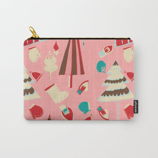 Vintage Christmas Pink Carry-All Pouch
