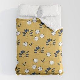 Autumn field lovers cotton balls and leaves botanical garden ochre blue Comforters