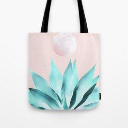 Stellar Agave and Full Moon - pastel aqua and pink Tote Bag