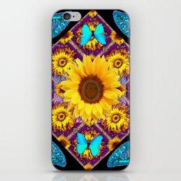 TURQUOISE BUTTERFLIES SUNFLOWER BLACK ART iPhone Skin