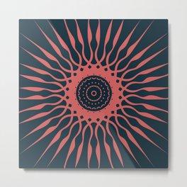 The Spark | Coral on Very Dark Blue Metal Print